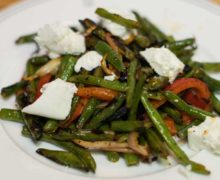 Grilled Green Beans With Goat Cheese