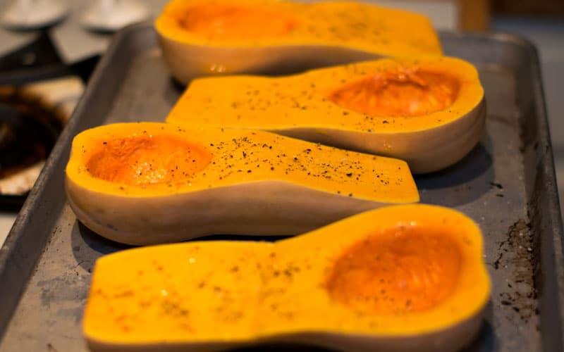 Prepped butternut squash