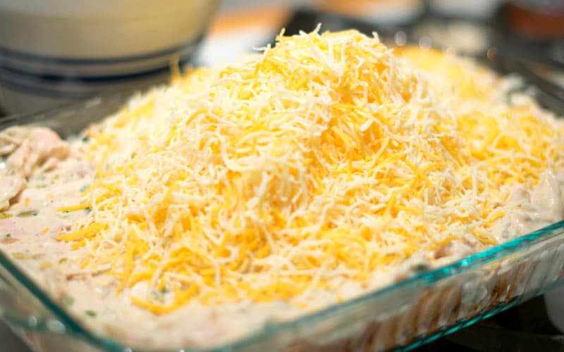 Mounds of cheese on Mexican Chicken