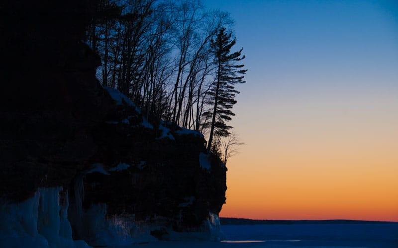Sun setting over Lake Superior
