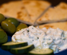 Tzatziki is a Greek sauce made with yogurt and cucumber