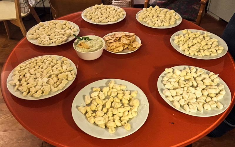 Plates of delicious gnocchi