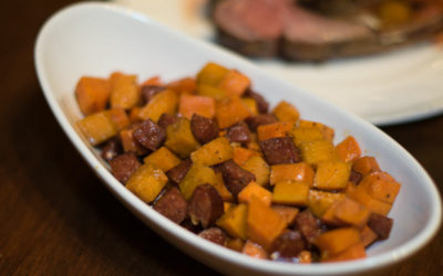 Brown Sugar and Maple Syrup Sweet Potatoes with Andouille Sausage