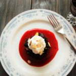 Chocolate Bread Pudding with Cherry Amaretto Coulis