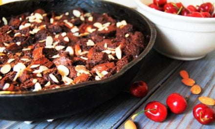 The Skillet That Could: Grandma's Cast Iron and Chocolate Amaretto Bread Pudding with Cherry Amaretto Coulis