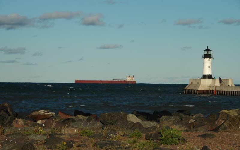 Ship sailing outside the harbor