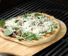 Grilled Pizza with Spinach, Mushrooms, and Garlic Olive Oil Recipe