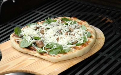 Grilled Pizza with Spinach, Mushrooms, and Garlic Olive Oil
