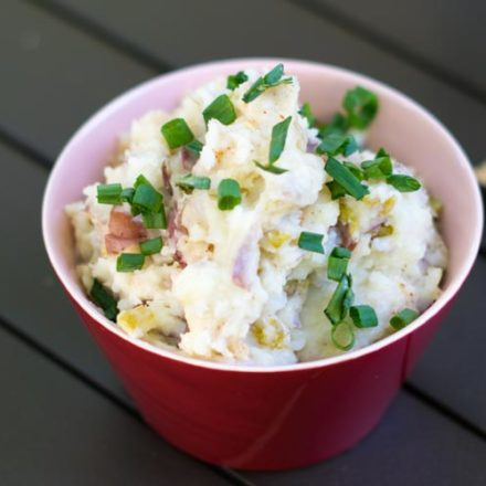 Mashed Potatoes with Pepper Jack Cheese and Roasted Green Chilies