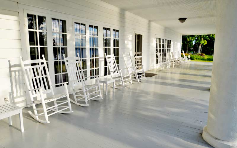 The porch has sweeping views of the lake