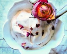 Rose with White Chocolate Truffle Swirl No-Churn Ice Cream