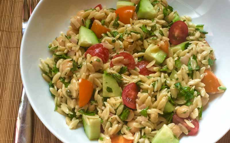 Orzo, Chickpea, and Tahini Salad
