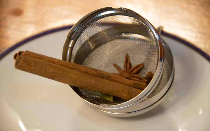 Spices in tea strainer