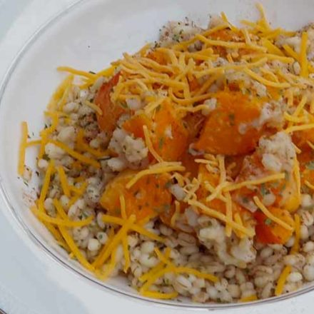Roasted Butternut Squash with Barley and Cheddar