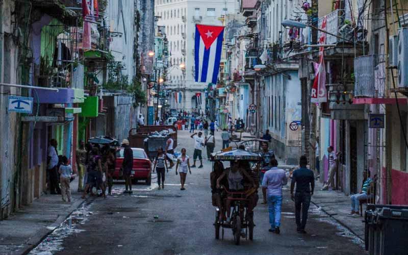 A Cuban flag flies near Havana Vieja