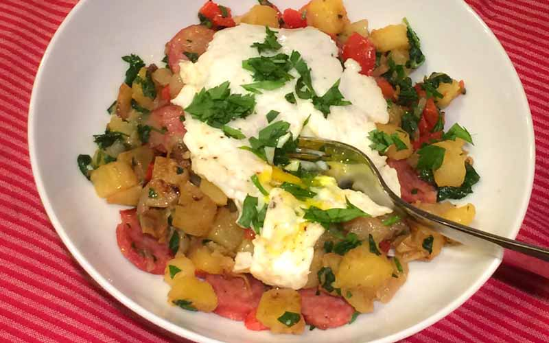 Andouille Sausage, Pepper, and Potato Hash
