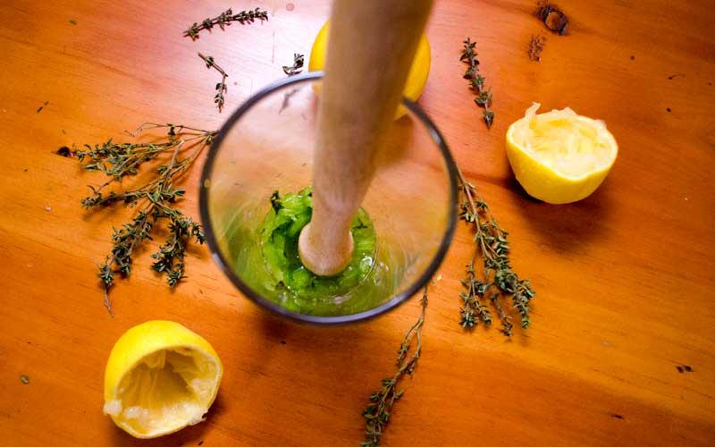 Muddling the celery