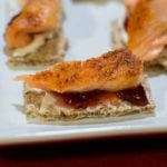 Smoked Salmon Canapes with Cream Cheese and Raspberry Fruit Spread