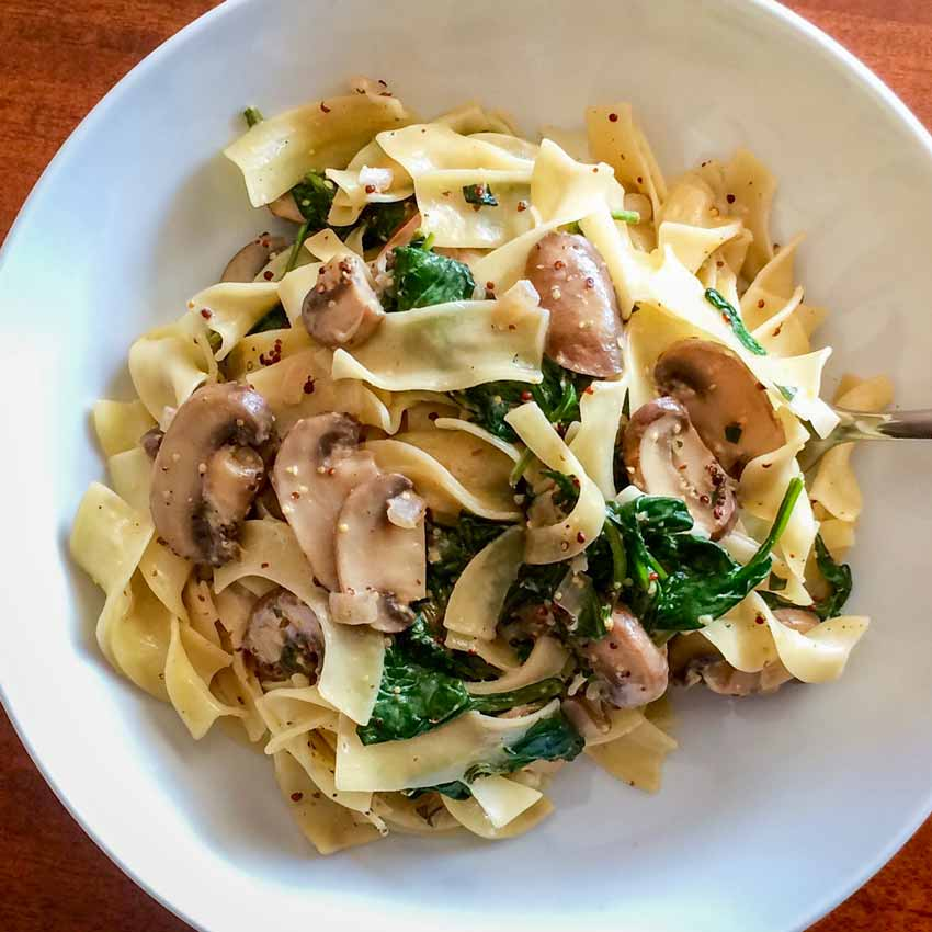 Egg Pasta with Spinach, Mushrooms, and Tarragon-Mustard Cream Sauce