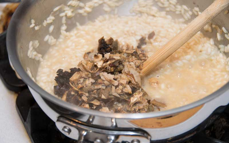 Adding the porcini