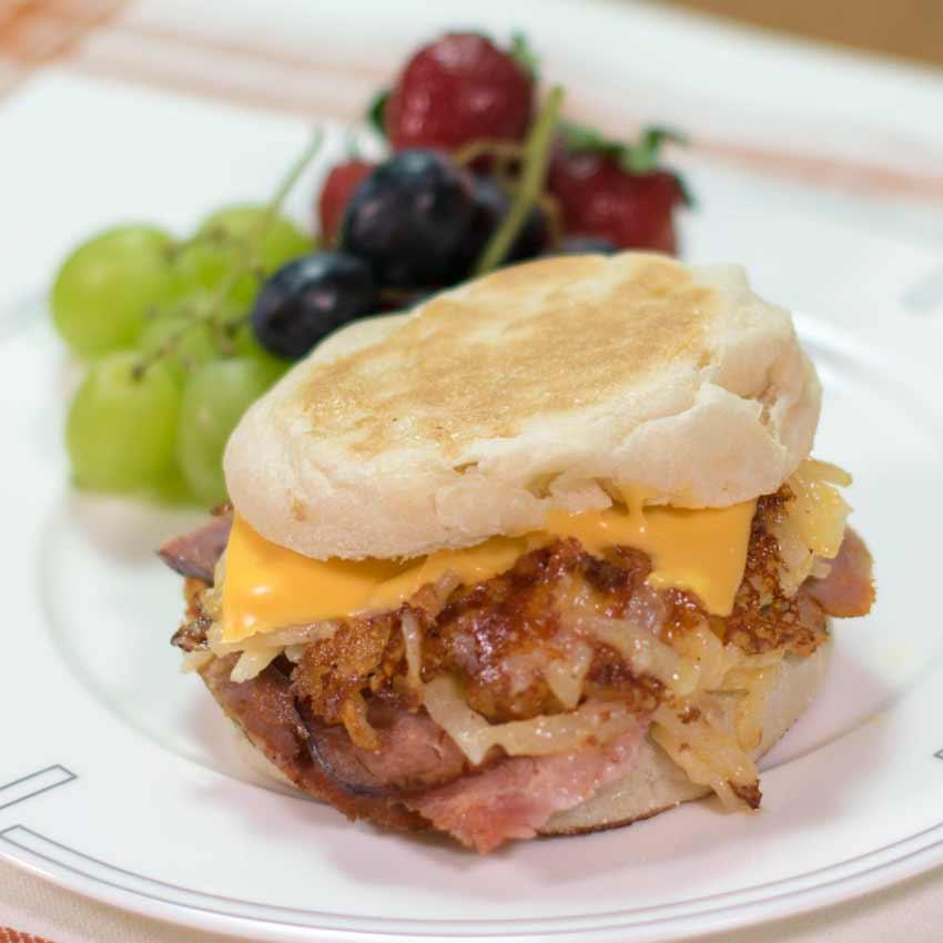 Cheesy Hash Brown and Ham Sandwich