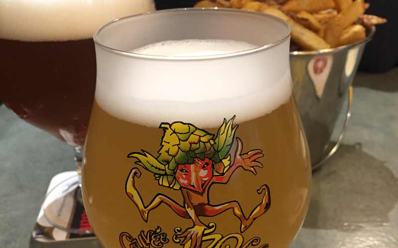 A popular Belgian beer and frites at happy hour.