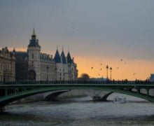 The view over the Seine at sunset