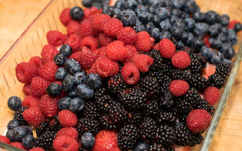 Strawberries, Raspberries, Blackberries, and Blueberries getting together for some fun