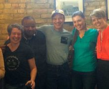 Dan with local business owners who are working on being locally-climate oriented
