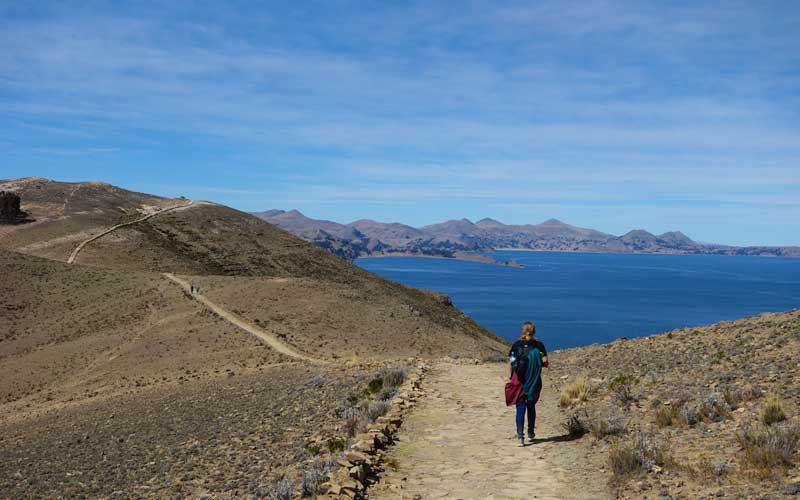 Hiking along the shores of Lake Titicaca