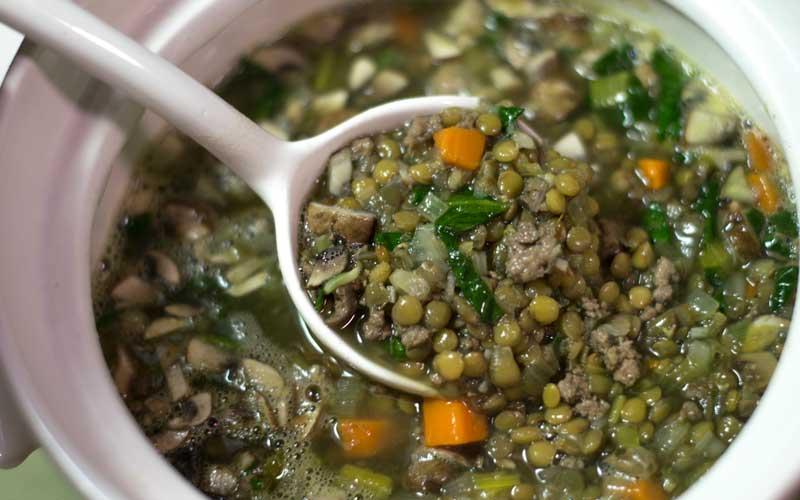 Italian sausage in lentil soup