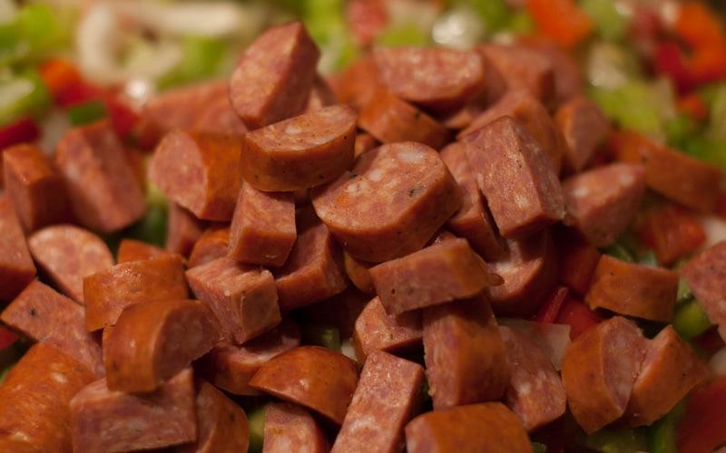 Cur up andouille sausage