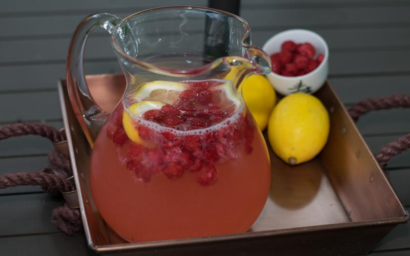 Raspberry Lemonade In Pitcher