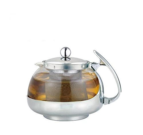 Stainless Steel Glass TEA POT Teapot W. Stainless Steel Strainer Filter 700ML