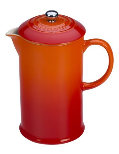 Le Creuset Stoneware 27 Ounce French Press, Flame