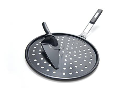 GrillPro 98140 Non Stick Pizza Grill Pan Includes Pizza Cutter/ Server, 12 Inch Diameter