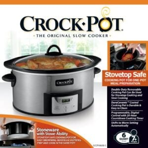 Crock Pot , 6 Quart, Countdown Programmable Oval Slow Cooker With Stove Top Browning, Stainless Finish SCCPVI600 S
