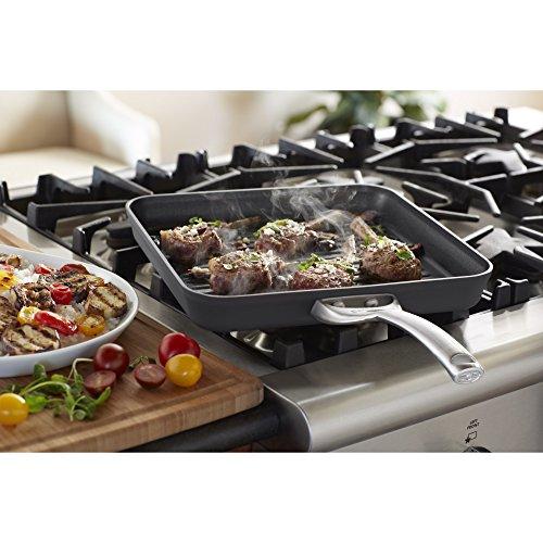 Calphalon Contemporary Hard Anodized Aluminum Nonstick Cookware, Square Grill Pan, 11 Inch, Black
