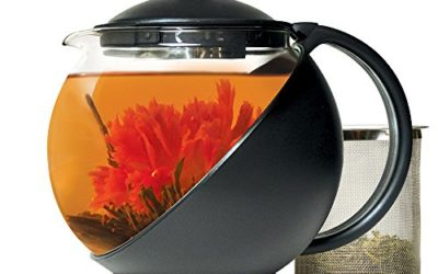 Primula Half-Moon Teapot for Flowering Tea Set – Wide Mouthed Temperature Safe Glass – 40 oz. – Clear Glass with Black Accents – Includes 3 Flowering Teas – Dishwasher Safe