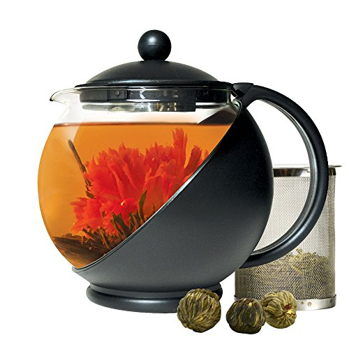 Primula Half Moon Teapot For Flowering Tea Set – Wide Mouthed Temperature Safe Glass – 40 Oz. – Clear Glass With Black Accents – Includes 3 Flowering Teas Dishwasher Safe