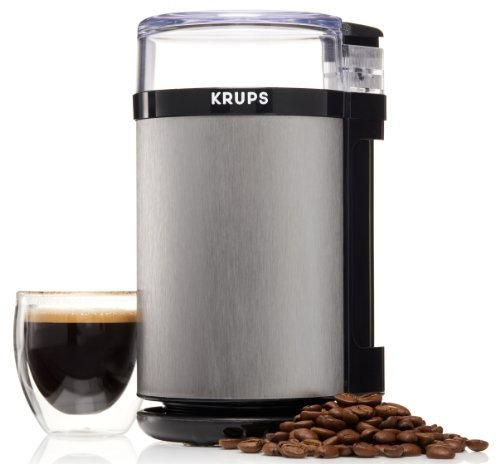 KRUPS GX4100 Electric Spice Herbs And Coffee Grinder With Stainless Steel Blades And Housing, 3 Ounce, Gray