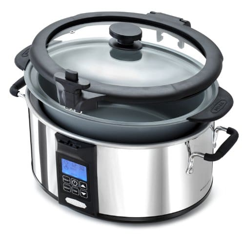 BELLA 6.5 Quart Programmable Searing Slow Cooker With Locking Lid, Chrome Color