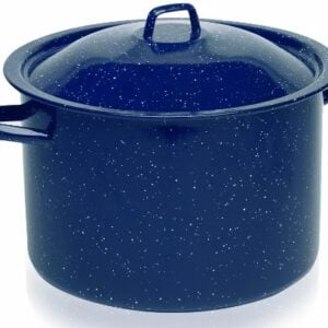 IMUSA USA C20666 10636W Enamel Stock Pot, 7.75 Quart, Blue