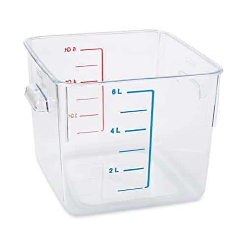 Rubbermaid Commercial Carb X Space Saving Square Food Storage Container, 6 Quart, Clear, FG630600CLR