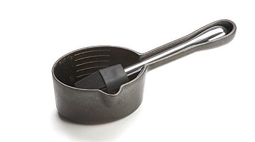 Cast Iron Sauce Pot With Nesting Silicone Basting Brush
