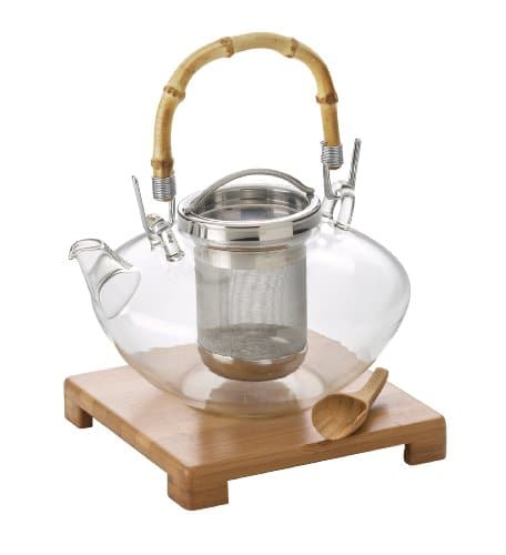"BonJour Tea Handblown Glass ""Zen"" Teapot With Stainless Steel Infuser And Bamboo Trivet, 42 Ounce"