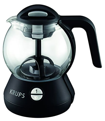 KRUPS FL7028 Personal Glass Tea Kettle With Integrated Infusion Basket, 1 Liter, Black