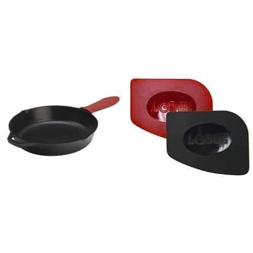 Lodge Cast Iron Skillet L10SK3ASHH41B, 12 Inch And Lodge SCRAPERPK Durable Polycarbonate Pan Scrapers, Red And Black, 2 Pack Bundle