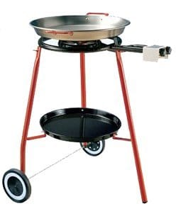 Garcima Cooking Kit On Wheels With 18 Inch Carbon Steel Paella Pan