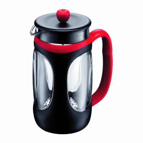 Bodum Young Press Shock Resistant French Press Coffee Maker, 1.0 Liter, 34 Ounce, Red/Black